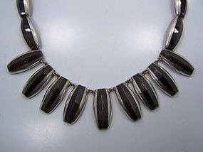 Ledesma Vintage Mexican Silver Obsidian Necklace