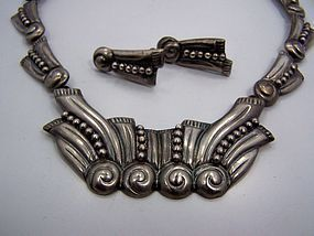 A Very Special Vintage Mexican Silver Repousse Necklace