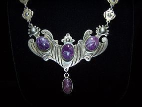 Amethyst Mexico City Vintage Mexican Silver Necklace
