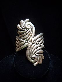 Vintage Mexican Silver Clamper Gorgeous Swirl