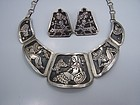 Far Fan Story Teller Earrings Vintage Mexican Silver