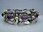 Antonio Pineda Vintage Mexican Silver Jeweled Bracelet