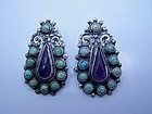 Matl Salas Mexican Silver Earrings Jeweled