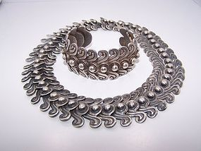 Los Castillo Swirl Vintage Mexican Silver Necklace 263
