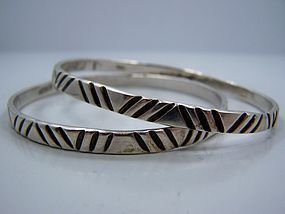 Hector Aguilar Vintage Mexican Silver Bangle Bracelets