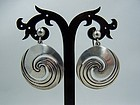 Hector Aguilar Vintag Mexican Silver Swirl Earrings