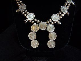 Vintage Sterling Southwestern Dimes Squash Necklace