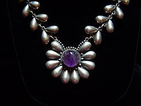 980 Taxco Vintage Mexican Silver Flower Necklace