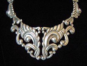 Mexican Silver Vintage Pectoral Necklace Taxco 980