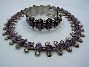 Fred Davis Vintage Mexican Silver Bracelet Amethyst
