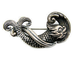 Los Castillo Mexican Silver Devil Fish Brooch 103 M Pin