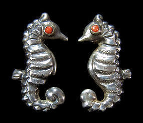 Matl Matilde Poulat Mexican Silver Seahorse Earrings
