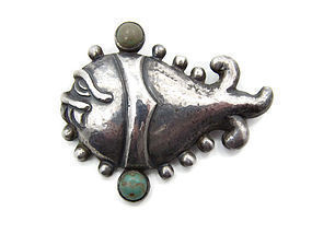 Early Matl Mexican Silver Fish Brooch
