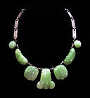 Eagle 22 Jade Mexican Silver Necklace Vintage