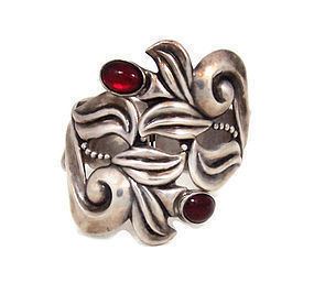 Gerardo Lopez Ruby Glass Mexican Silver Clamper