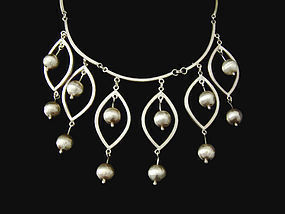 Old Mexican Silver Vintage Cascade Necklace