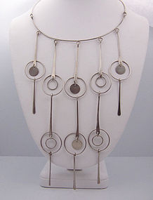 Vintage Mexican Silver Circles Cascade Necklace
