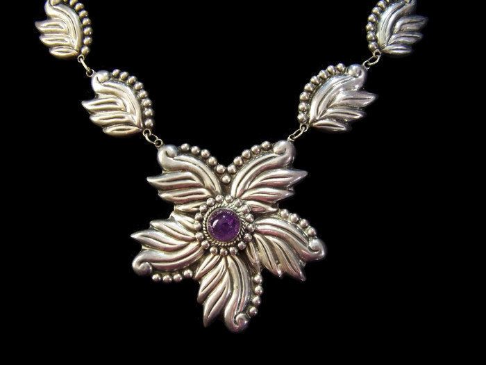 Taxco 980 Vintage Mexican Silver Flower Necklace