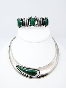 Modernist Sergio Mexican Silver Necklace Chrysoprase