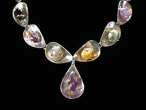 Vintage Multi Gem Stone Rare Mexican Silver Necklace