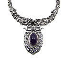 Margot de Taxco Cornflower Mexican Silver Necklace Br