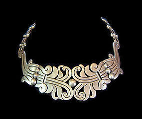Hector Aguilar 1940's Mexican Silver Maguey Necklace