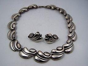 Antonio Pineda Vintage Mexican Silver Moonstone Necklace Old Mark