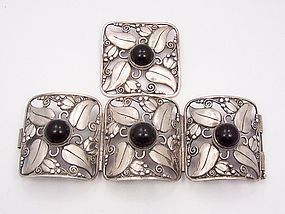 Fred Davis Design Huge Black Onyx Bracelet And Matching Brooch