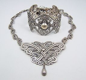Los Castillo Hand Chased And Beaded Pectoral Necklace Design 359