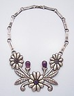 Repousse Floral Amethyst Vintage Mexican Silver Necklace