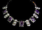 Wonderful Vintage Mexican Silver Amethyst Necklace With Beads