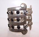 Altamirano  Vintage Mexican Silver Cuff Bracelet Onyx Stones