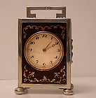 English Silver Carriage Clock, London 1920, Goldsmiths