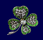 Antique Demantoid Diamond clover Brooch , England C1880