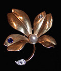 French 18K Sapphire Diamond flower Brooch, C.1890