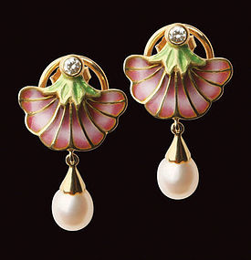 18K Enamel and Diamond drop Earrings, C.1970