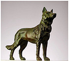 French Art Deco spelter Alsatian Dog  Marble sculpture