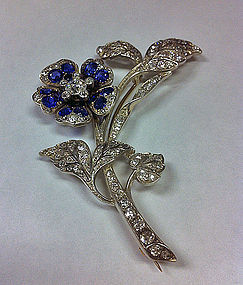 Antique Sapphire Diamond  spray Brooch English C. 1875