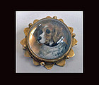 Reverse Intaglio Crystal Dog brooch, C.1880.