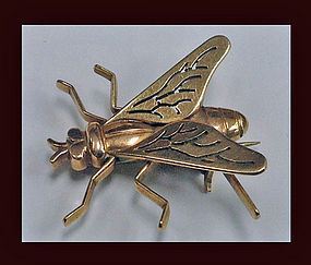 French Boucheron 18K Fly Brooch C.1930
