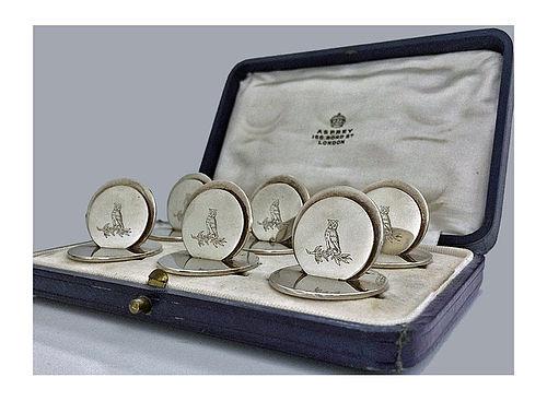 Asprey set Silver Place Card Menu Holders London 1931