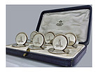 Asprey set Silver Place Card Menu Holders London 1931