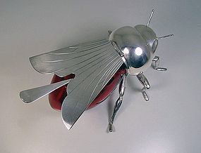Rare English Silver plate and Ruby Glass Bee Honey Pot,