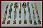 Pair 950 1st std French, vermeil, mother of pearl sets