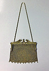 Art Nouveau Gold Diamond Pearl mesh link purse, C.1900