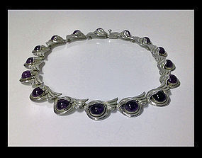 Margot De Taxco Sterling Silver Amethyst Necklace, C.19