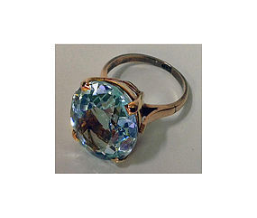 18K pink gold Aquamarine Ring, C.1950.