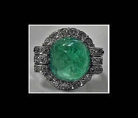 Art Deco Platinum Emerald and Diamond Ring, C.1930.