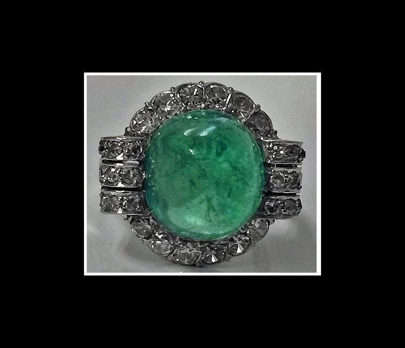 Art Deco Platinum Emerald and Diamond Ring, C.1930.
