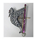 French Griffin Harp Ruby, Diamond, Pearl 18K Brooch